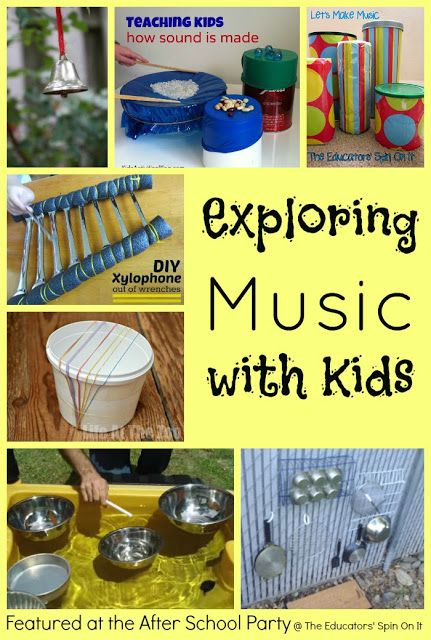Ideas for Exploring Music with Kids using recycled items featured at The Educators' Spin On It