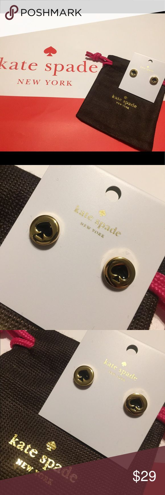 "♠️😍 KATE SPADE ""Spot the Spade"" Earrings in Gold Gorgeous Kate Spade earrings in gold with black Spade. Simple & Elegant. ♠️♠️♠️ Brand new with tags & dust bag 😉. kate spade Jewelry Earrings"