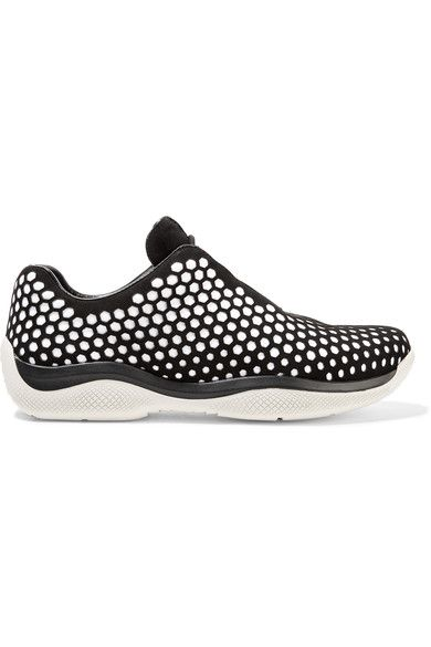 Prada - Perforated Suede And Neoprene Sneakers - SALE20 at Checkout for an extra 20% off