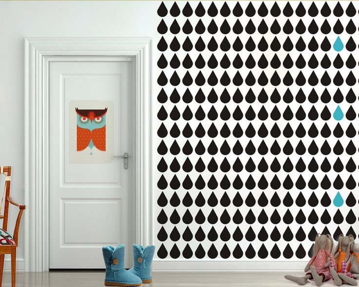 black drops wallpaper by Humpty Dumpty Room Decoration, HDRD, interior design by Fajnodesign.by