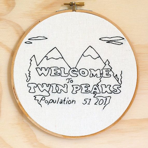 Jelly Donuts?    Twin Peaks town sign hand embroidered wall art to cheer up your empty room. Details: - High quality organic cotton calico stretched