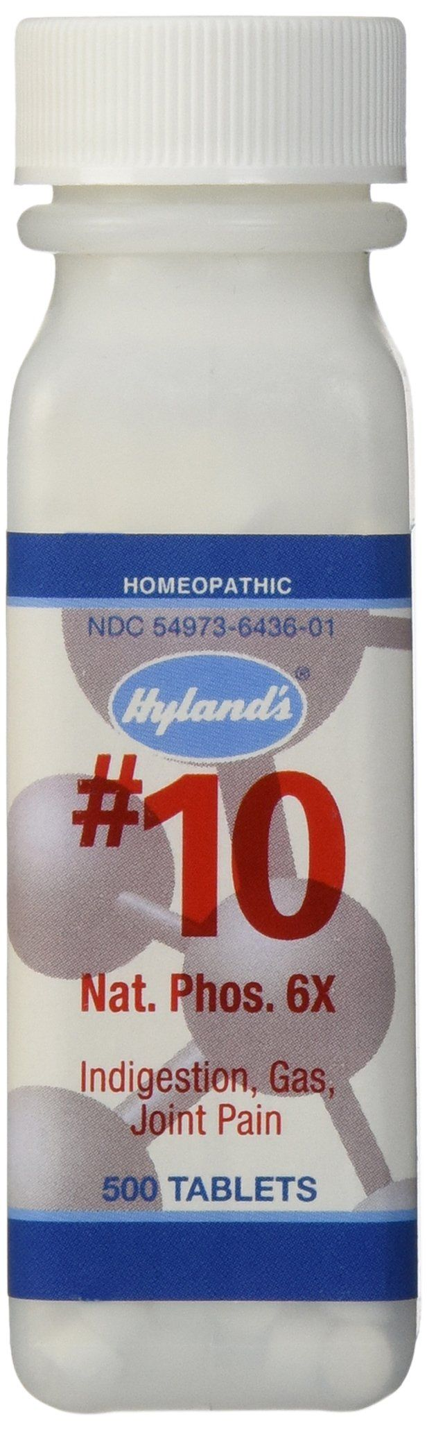 Hyland's Cell Salts #10 Natrum Phosphoricum 6X Tablets, Natural Homeopathic Relief of Indigestion, Gas, and Joint Pain, 500 Count
