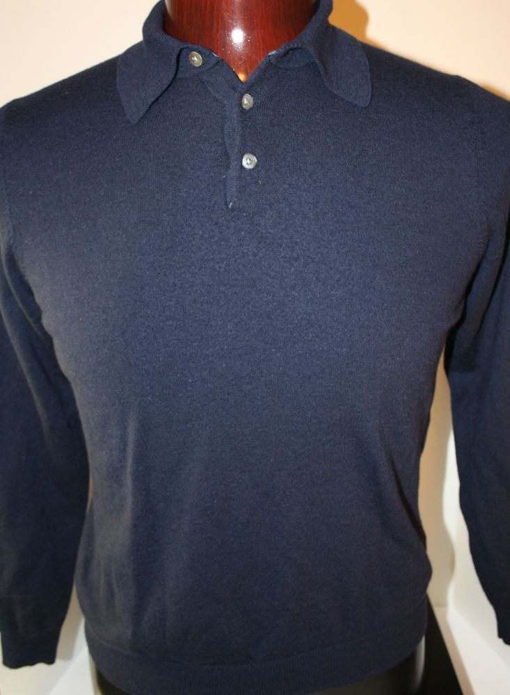 Brooks Brothers Mens Polo Sweater Pullover Wool Large Button