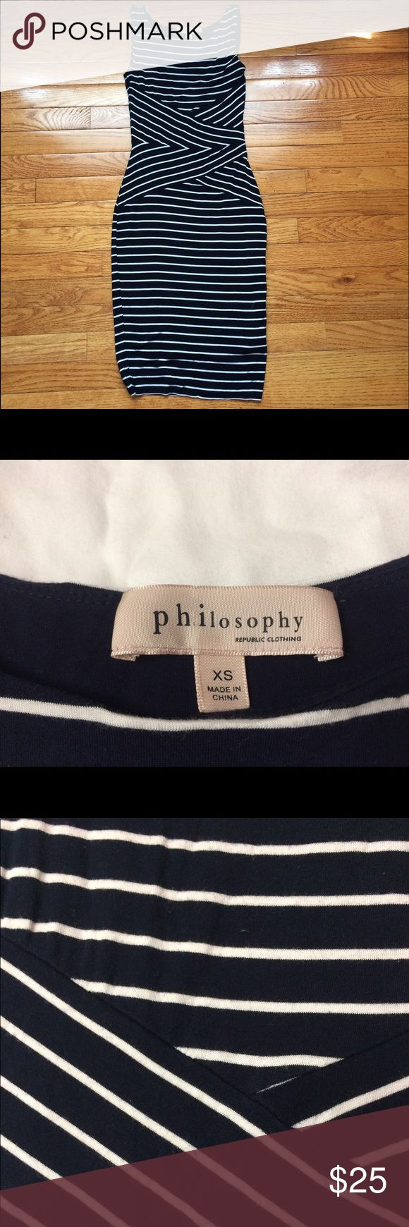 Philosophy Navy Blue/White Striped Dress Great dress to have in any wardrobe for work, for the weekend, or even for every day! Philosophy Dresses Midi