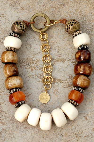 Necklace |  Kelly Candera - XO Gallery.  African-Inspired Bone, Brass, Leather and Amber Chunky Necklace