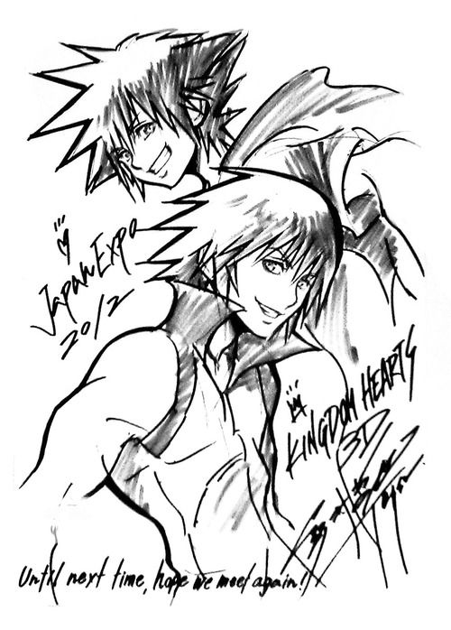 KH 3D: Dream Drop Distance ~ sketch of Sora and Riku by Tetsuya Nomura