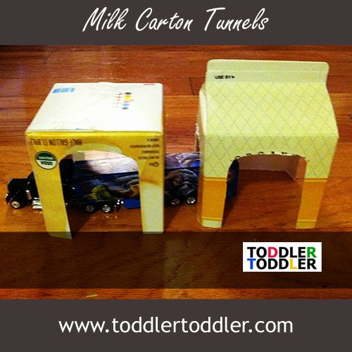 Very easy, very effective, loads of fun: Milk Carton Tunnels. Make sure to bring your own toy cars!