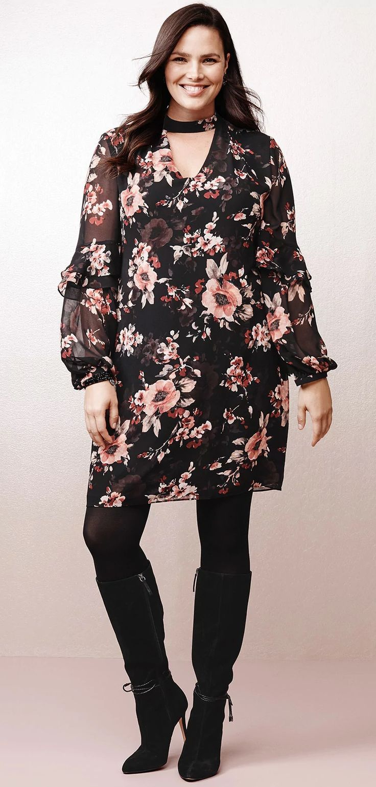 Plus Size Floral Dress #Plussize #Fall #Dress