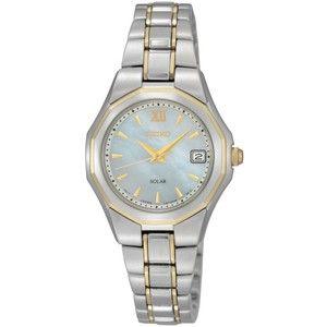 Seiko Watch, Women's Solar Two Tone Stainless Steel Bracelet 28mm SUT058