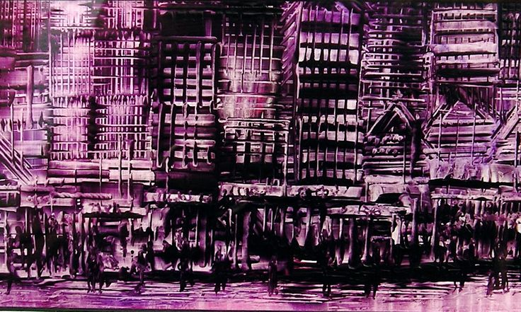 Purple City - wax painting by Phil Madley www.philmadley.com
