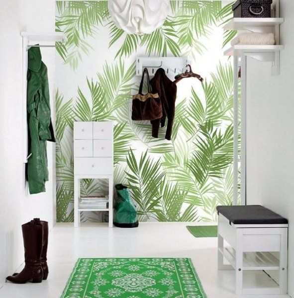 Popular flurgestaltung gr ne deko tapete palmen bl tter regale teppich