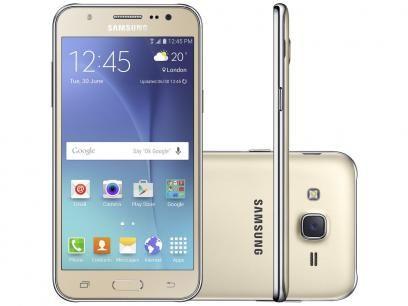 """Smartphone Samsung Galaxy J5 Duos 16GB Dourado - Dual Chip 4G Câm. 13MP + Selfie 5MP Flash Tela 5"""" sem cartão"""