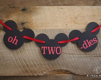 oh TWO dles Micky Mouse banner for 2nd Birthday Party, Photo Shoot, Mickeys Clubhouse, Oh Toodles | Black & Red