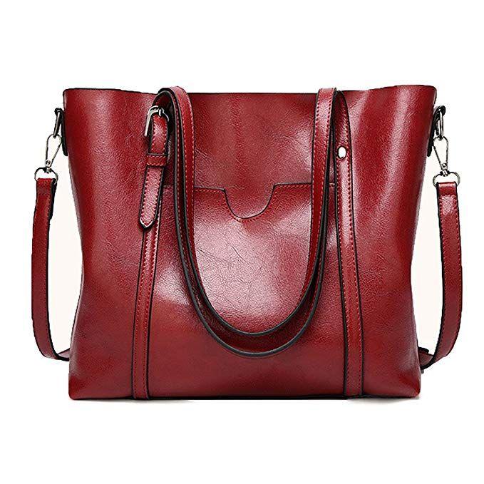 dbf434da56 JaneRa Women s Leather Top Handle Handbag Satchel Daily Work Tote Shoulder  Bag Large Capacity (Burgundy)