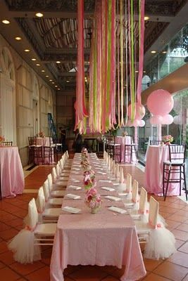 Pink little girl birthday party with tu-tu chairs.  LUV the tutu chairs.  Taking that idea!