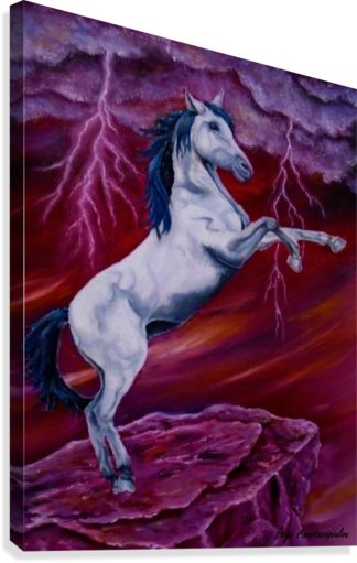 Painting,  white, horse, red, sky, equine,standing,fantasy,decor,ideas,items,wall art, canvas print, artwork,for sale,pictorem, pinterest