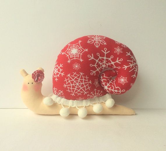 Stuffed Snail animal toy in Christmas style. by CherryGardenDolls