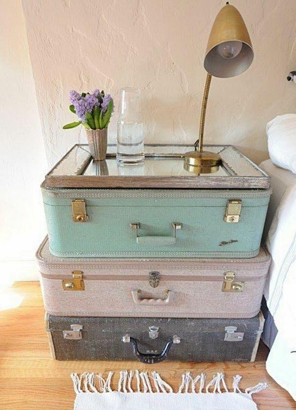 Kreative Ideen Zum Möbel Wiederverwenden. Alte Koffer Als Nachttisch DIY