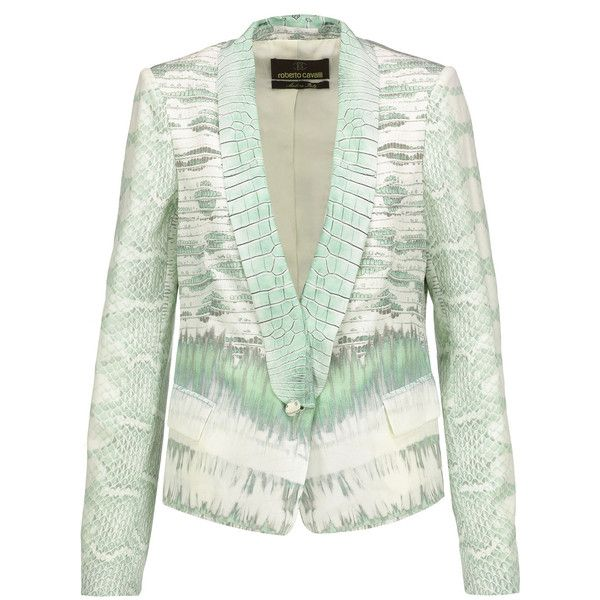 Roberto Cavalli - Printed Silk Crepe De Chine Blazer ($887) ❤ liked on Polyvore featuring outerwear, jackets, blazers, mint, mint blazer, mint green blazer, roberto cavalli, blazer jacket and print jacket
