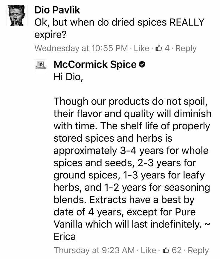 As you've probably read, McCormick spices in rectangular tins(other than black pepper) are over 25 years old. I've been particular about spices ever since making Turkey Divan over 20 years ago and sprinkling more than paprika on the top, so while they may not spoil-well, guess it's all in your interpretation of spoiling. 🤢