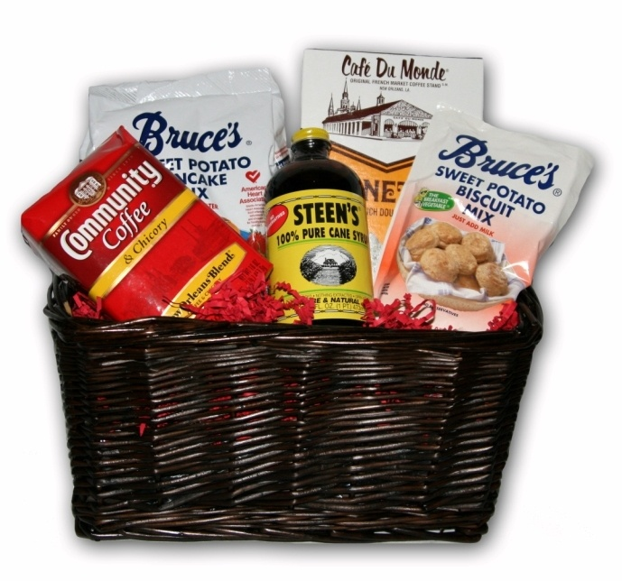 $32.50 The NolaCajun New Orleans Breakfast Gift Basket includes the following products:Community Coffee,Steen's Pure Cane Syrup,Cafe Du Monde Beignet Mix,and Bruce's Sweet Potato Pancake Mix.The Breakfast Gift Basket is produced by NolaCajun.com.