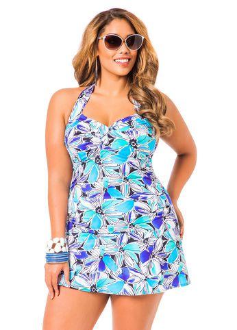 Ashley Stewart Floral Swim Dress