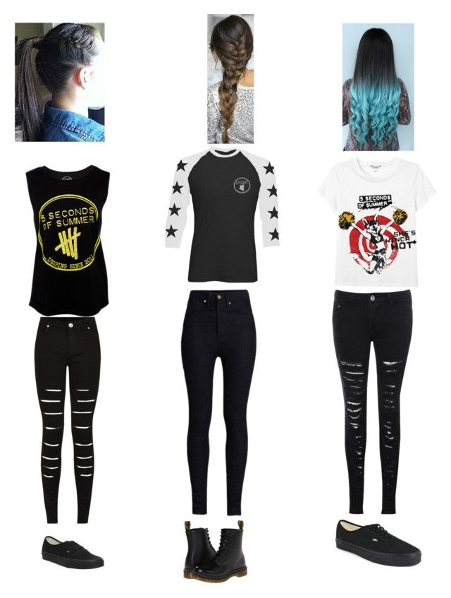 """""""~Simple~What I would wear to a 5sos concert ~Last shirt designed by me !!!!! ~"""" by mely-carrasco ❤ liked on Polyvore featuring Vans, Dr. Martens, Rodarte, Monki, Novo, Glamorous, women's clothing, women, female and woman"""