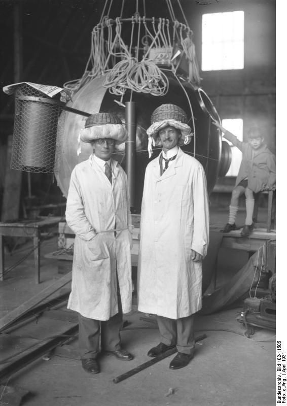 Spectacular Auguste Piccard and panion with their ft balloon
