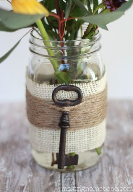 Embellished Mason Jar Vase for Spring | Burlap and Twine