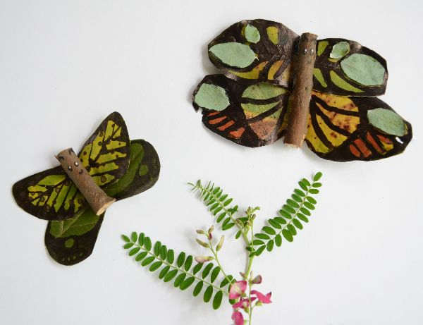 Easy leaf + stick butterfly craft