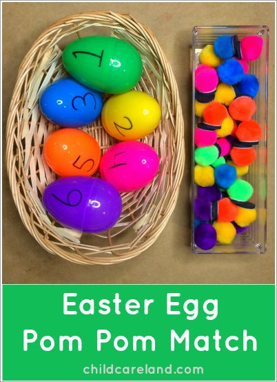 Easter Egg Pom Pom Match ... for math and fine motor skills.