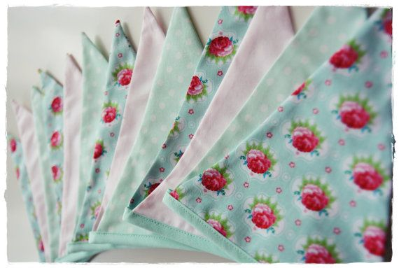 Fabric Banner Garland  - mint & light pink with roses