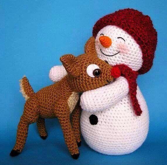 Muñeco de nieve y reno, crochet