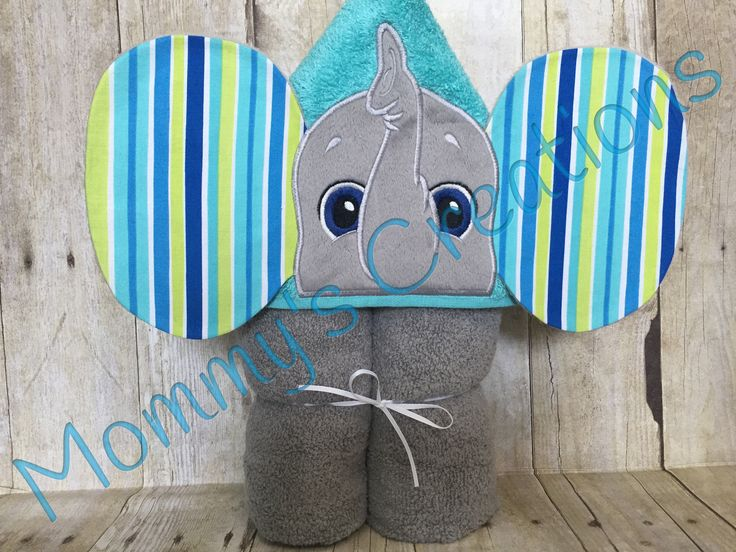 """Elephant Boy Applique Hooded Bath Towel, Beach Towel 30"""" x 54""""  Personalization Available by MommysCraftCreations on Etsy"""