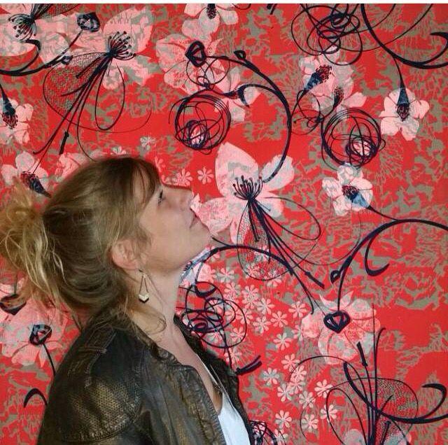 BLOOMING - Unique en Série 2015 Sérigraphie sur textile Exposition à la gallery Joyce à Paris pour les D'days - Flash power -encre magique