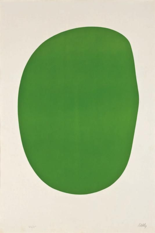 """Ellsworth Kelly - Green (1964-65); Lithograph on Rives BFK paper 35x23.75""""; From the Suite of Twenty-Seven Color Lithographs"""