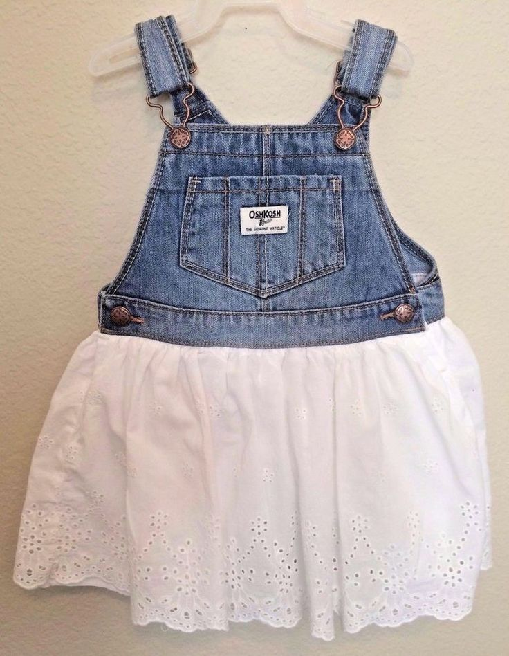 OshKosh B'Gosh Vestbak Denim Overall Dress White Eyelet Skirt Toddler Girl 4 4T #OshKoshBgosh #Overalldress #Casual
