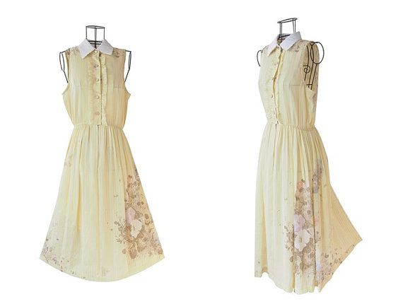 Adorable Vintage Dress // Yellow Floral Dress // by LPSNUG on Etsy