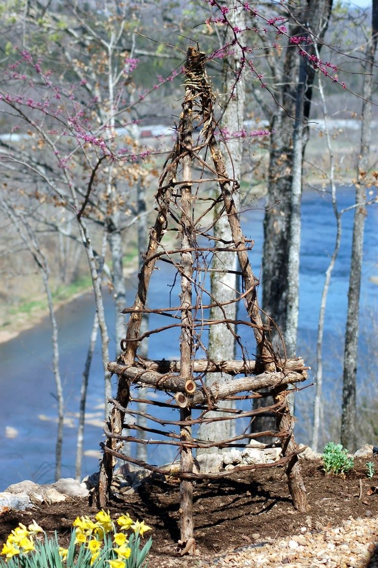 Make your own trellis out of branches and grapevine, or willow.