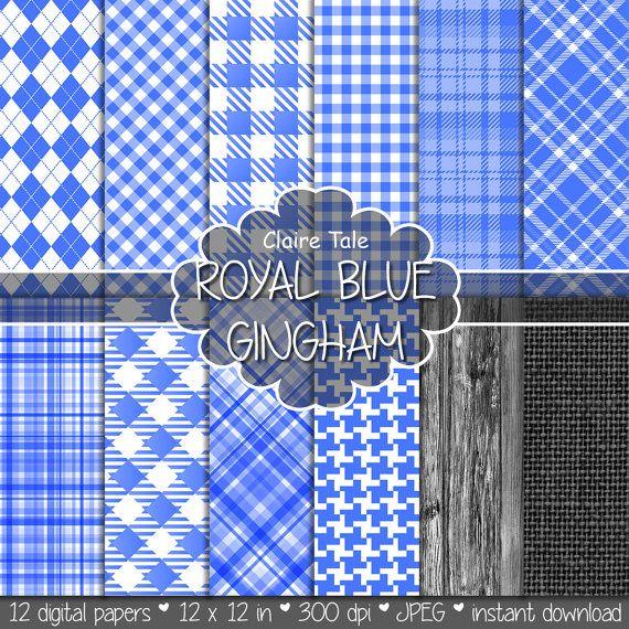 Royal blue gingham paper, Royal blue printable tartan, Royal blue houndstooth background, Royal blue rhombus pattern, Royal blue scrapbook