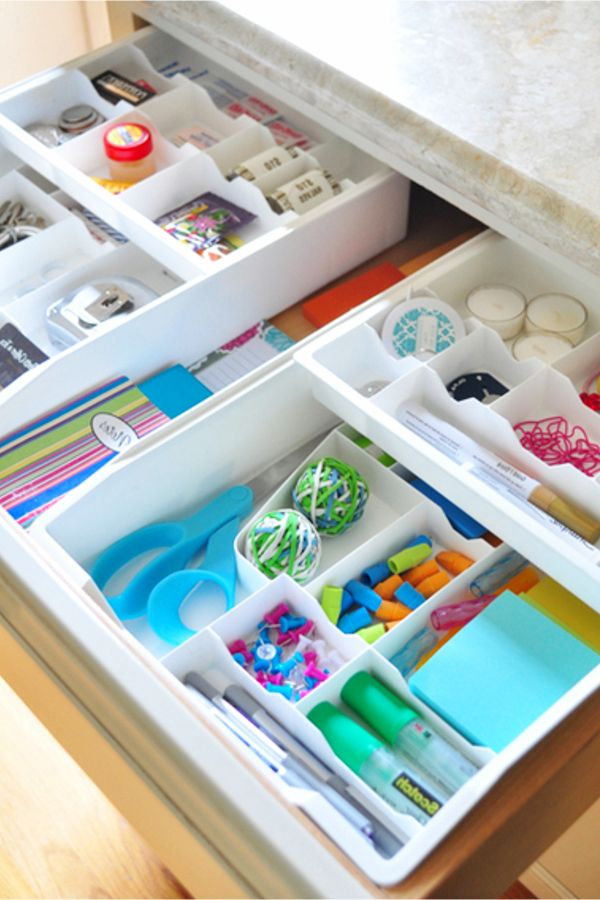 Junk Drawer Organization Tips Genius Organizing Ideas For All Junk Drawers Decluttering Your Life Junk Drawer Organizing Drawer Organizers Diy Drawer Organizer