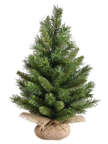 Mini Fake Tabletop Christmas Pine Tree With Burlap Base 18 Tall