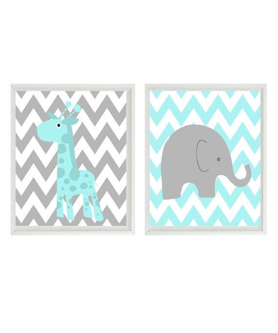 Nursery Art Elephant and Giraffe Chevron Aqua by RizzleandRugee, $30.00