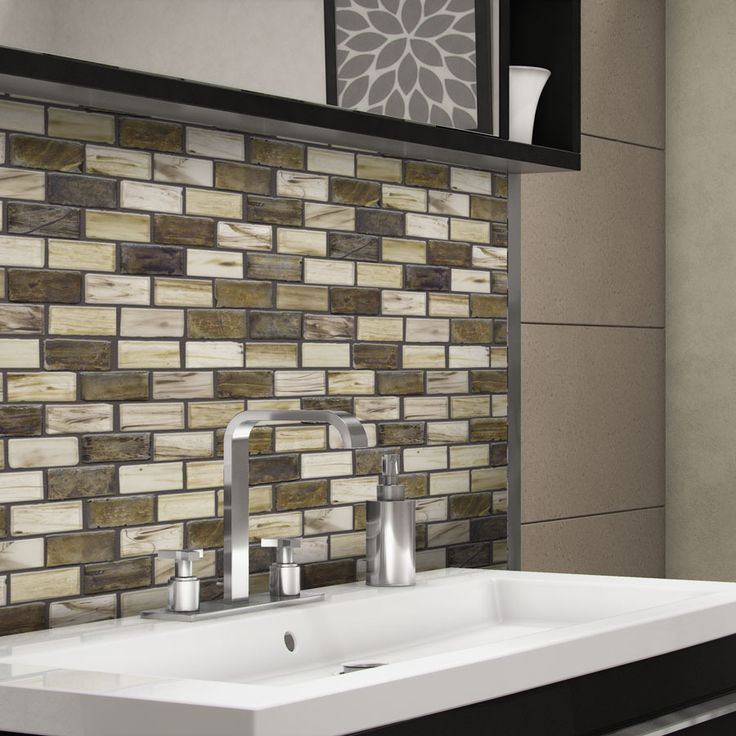Elida Ceramica Melted Earth Brick Mosaic Glass Wall Tile