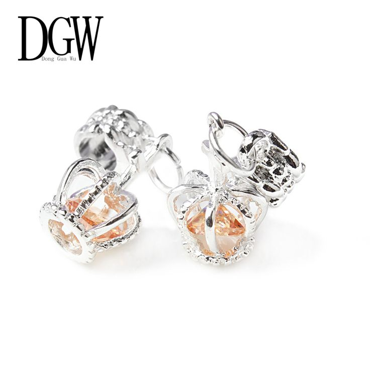 DGW 8 colors 1Pcs Silver Bead European Silver with Charm Crystal Pendant Beads Fit Pandora t Bracelets & Bangles crown charms