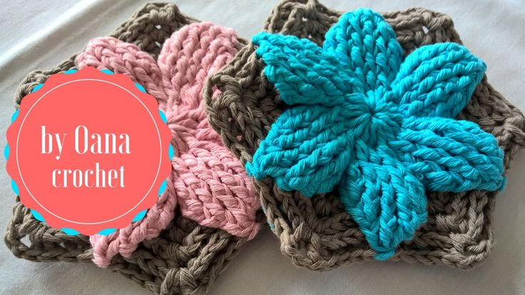Crochet floral hexagon in two colours