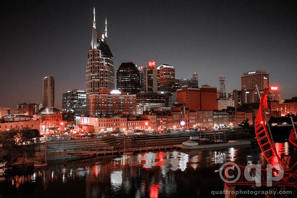 Nashville in red. Nashville, TN. Prints available