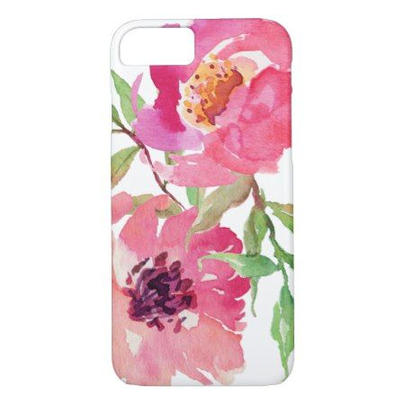 Girly Pink Watercolor Floral Pattern iPhone 7 Case - tap to personalize and get yours
