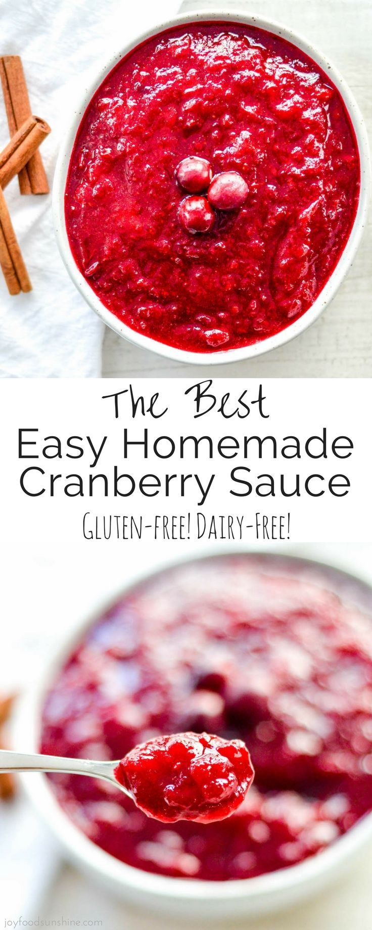 The best Homemade Cranberry Sauce recipe you will ever make, and a must-have recipe for your holiday celebrations! Never buy cranberries in a can again! Gluten-free & vegan!