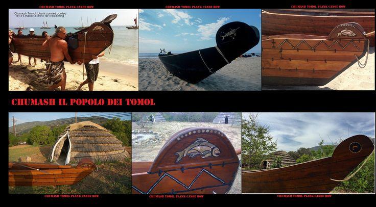 Prue di tomol decorate con mosaici di gusci di conchiglie. I tomol, tii'at in Tongva, sono le imbarcazioni storicamente e attualmente utilizzate dai Chumash e dai Tongva, nella zona tra Santa Barbara, Los Angeles e le Isole del Canale.